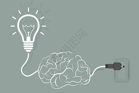 灯泡大脑与电路高清图片