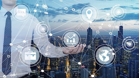 夜景城市商务互联网科技图片