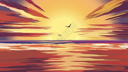 手绘夕阳西下图片