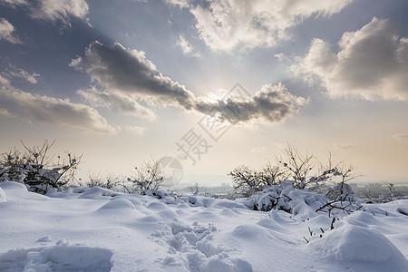 雪地上的阳光云彩图片