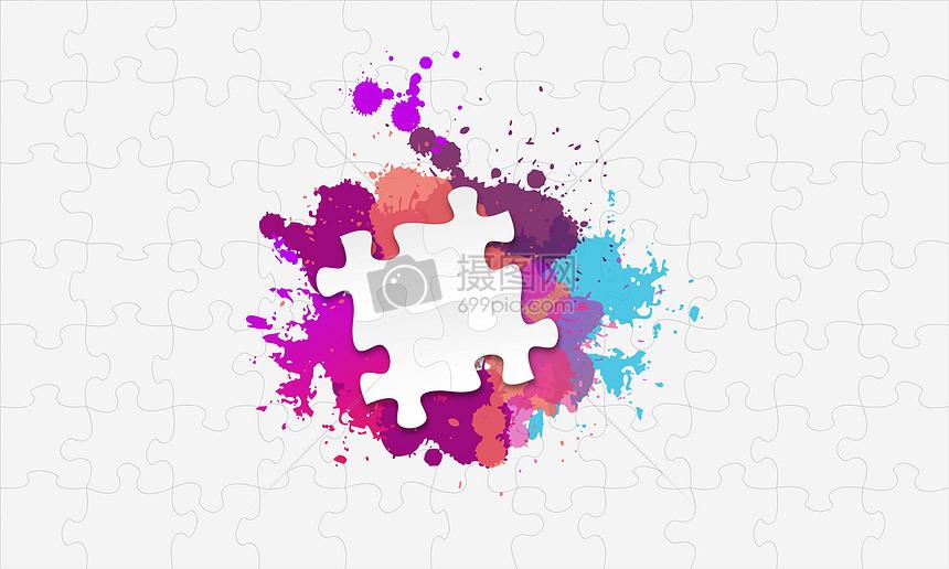 彩色喷漆拼图图片