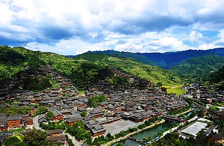 大美贵州山顶全景图山脉村庄风景图片