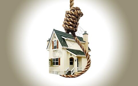 捆绑的房子和挂在刽子手的绞索图片