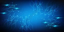 蓝色电子线路科技背景图片
