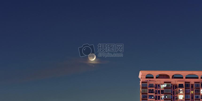 月亮 月牙 夜景图片