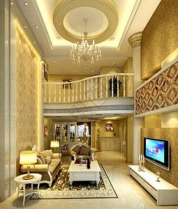 别墅级别的客厅效果图图片