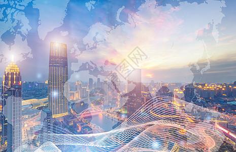 科技炫光蓝色发光海报桥城市背景夜城市天地球地图空图片