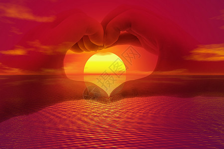夕阳爱情图片