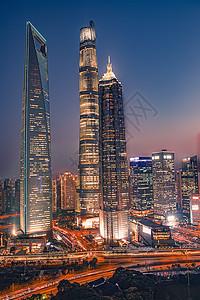 上海地标三件套夜景图片