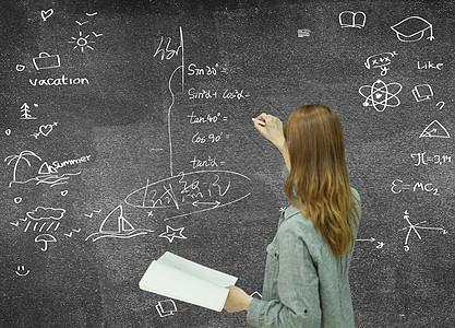 商务人士在黑板上指导成功的方向图片