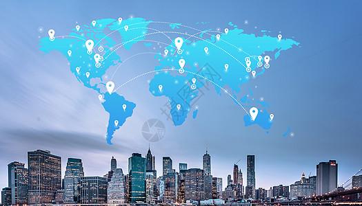 社交媒体传播互联网网络连接城市摩天楼世界地图背景图片
