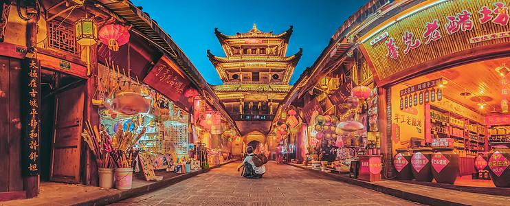 阆中古城夜色图片