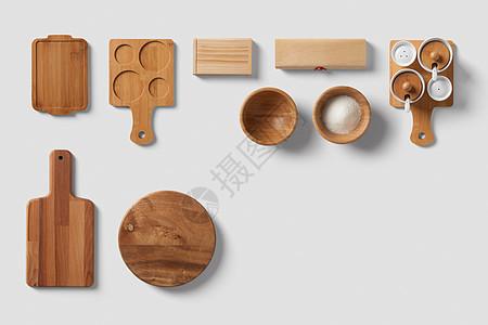 简洁厨房餐具菜板白底合成素材图片