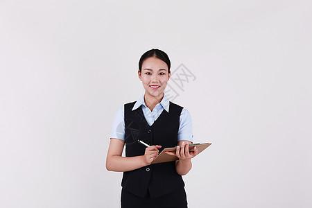 职业美女女性客服展示板书形象图片
