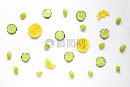 柠檬黄瓜青提夏季水果静物素材图片