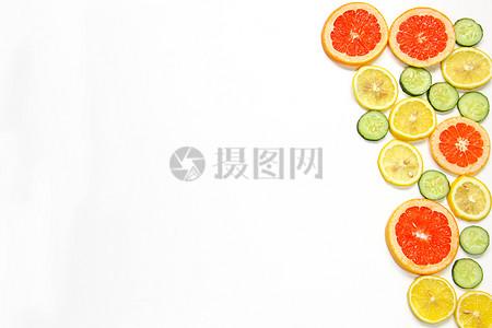 柠檬黄瓜西柚切片夏季水果静物白底素材图片
