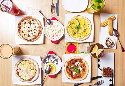 精致4人甜点披萨下午茶图片