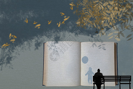 老人寻找书中的童真手绘插画背景图片