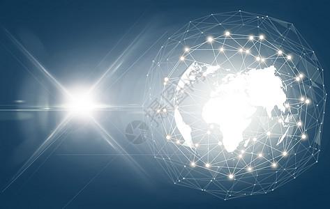 科技感炫光蓝色动感发光地球素材背景图片