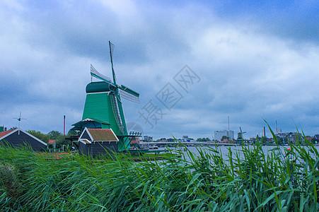 荷兰的风车图片