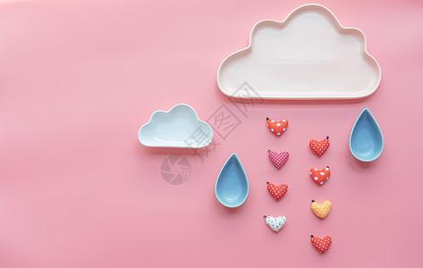 可爱云朵心形雨滴图片