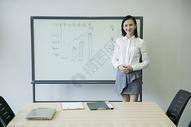 会议上商务女士给团队分析数据主持会议图片