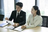 办公室里商务人士在沟通查阅资料图片