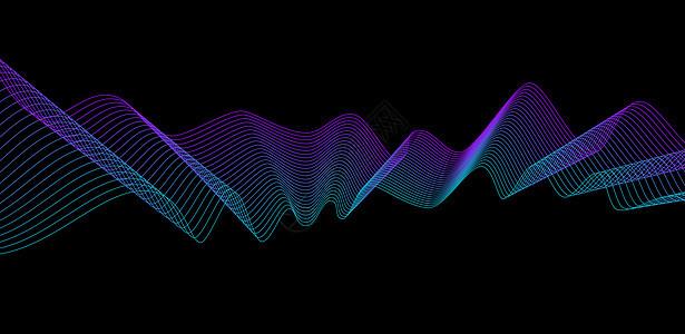 荧光波浪渐变线条背景图片
