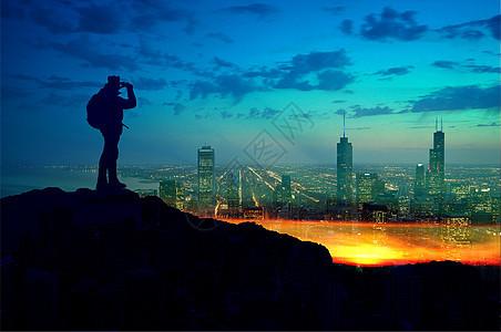远眺城市图片