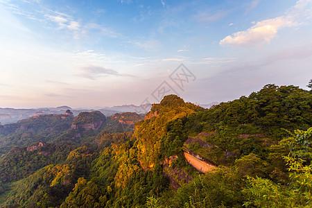 丹霞山日落山峰美景图片
