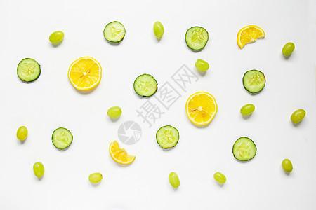 青提柠檬黄瓜片夏季新鲜水果静物白底素材图片