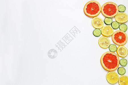 柠檬西柚黄瓜片夏季水果静物留白素材图片