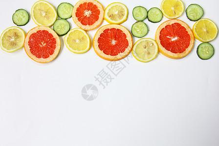 柠檬西柚黄瓜片夏季水果静物白底素材图片