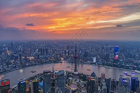 上海环球观光厅看出去的上海天际线图片