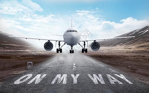 飞机起飞背景素材图片