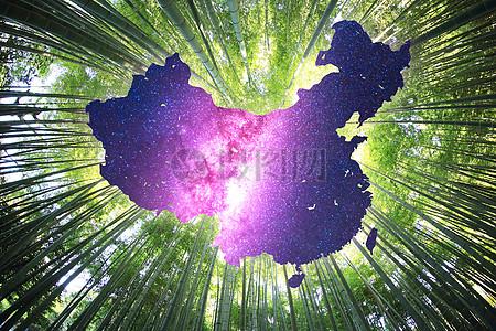 竹海中的中国地图与星空图片