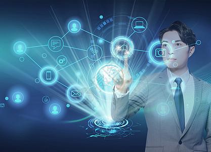 商人在网络背景下,手握网络连接技术图片