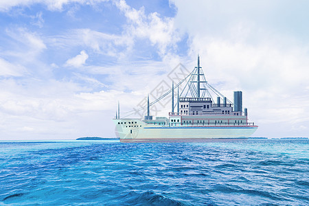 游轮大海背景图片