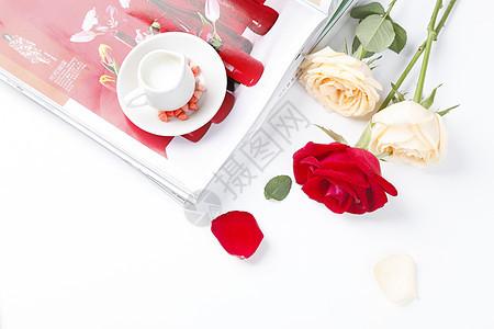 下午茶玫瑰花场景图片