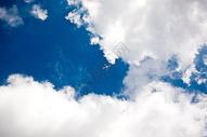 一架飞机飞过蓝天白云图片