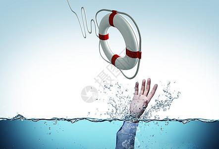 丢救生圈救水里挣扎人图片