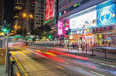 香港夜晚繁华街头图片