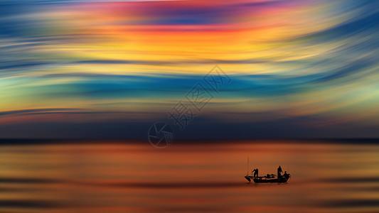 夕阳下的渔船图片