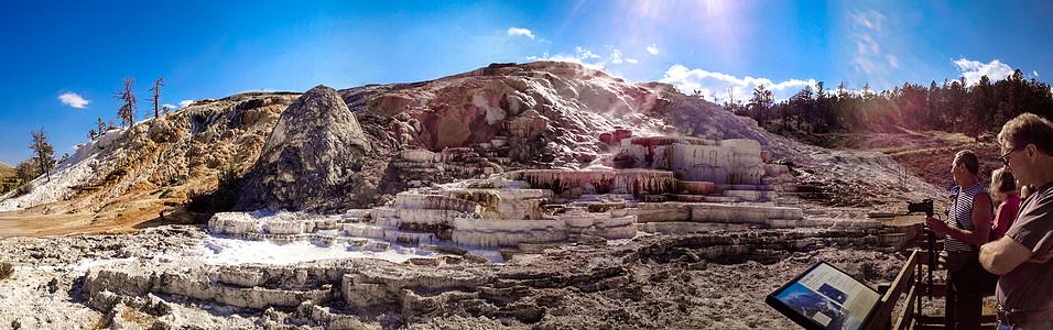 美国黄石公园的猛犸热泉图片
