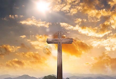 黄昏下十字架素材背景图片