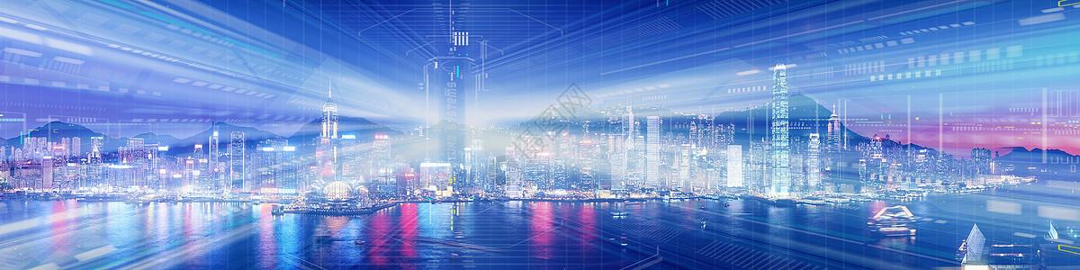 城市科技banner背景图片