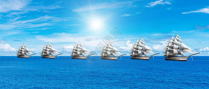 海上帆船背景图片
