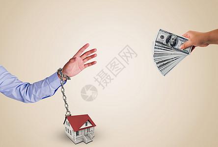 捆绑式房屋金钱交易背景图图片