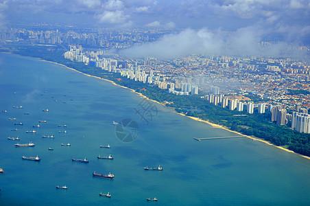 新加坡航拍城市海岸线图片