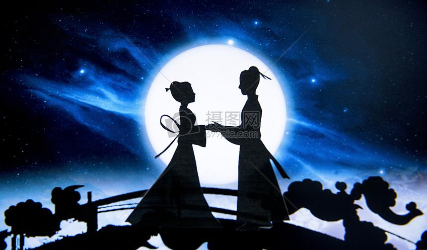 浪漫七夕牛郎织女创意剪纸图片素材_免费下载_jpg图片格式_VRF高清图片500561816_摄图网